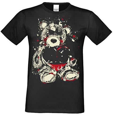 T-Shirt - Teddy - gruseliges Motiv - Shirt für Leute mit Humor - Halloweenparty, Größe:5XL