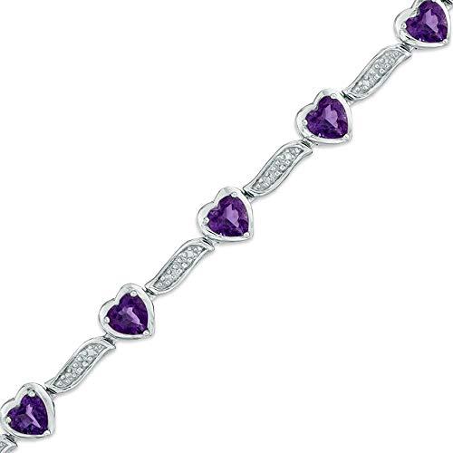 SLV Pulsera de plata de ley 925 con amatista en forma de corazón y diamantes transparentes D/VVS1 de 5,0 mm para mujer.