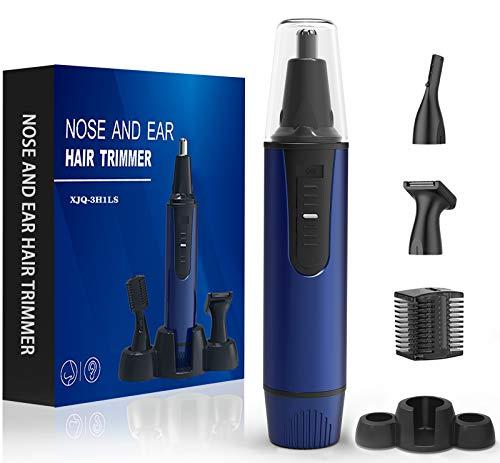 Cortador de pelo de nariz, 2020 profesional de pelo y recortadores de pelo sin dolor, para cejas faciales, orejas, funciona con pilas, recortadora nasal portátil para hombres (azul)