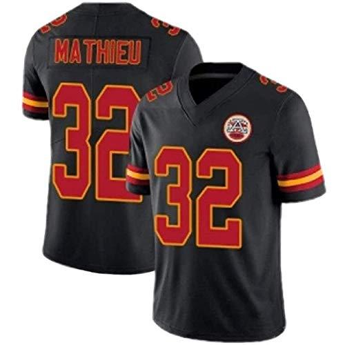 32# Mathieu Chiefs American Football-Trikot der Herren von,schnell trocknendes Fußball-T-Shirt aus Polyester, Trainingshemd mit halben Ärmeln, geeignet für Fans-Black-M
