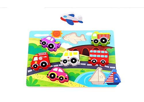 Tooky Toy Puzzle véhicules et moyens de transport en bois, Multicolor, 29.5 x 21 x 1.7 cm