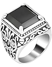 Black Square Resin Retro Silver-Plated Ring for Men
