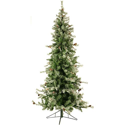 Unknown1 7.5' Buffalo Fir Slim Artificial Christmas Tree with Clear Smart Lights White