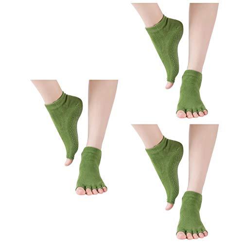 cinnamou 3 Paar Frauen Yoga Socken Ballettsocken Tanzende Socken rutschfeste Socken damen Toe Sox Zehensocken mit 5 Zehen Kickboxing Pilates 5 Finger rutschfeste Socken damen Ballett bodensocken