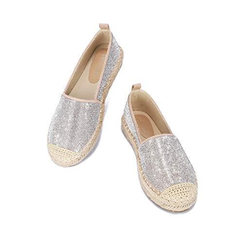 Cape Robbin Brena Platform Espadrilles for Women, Slip Ons Shoes Alpargatas with Rubber Sole - Nude Size 7