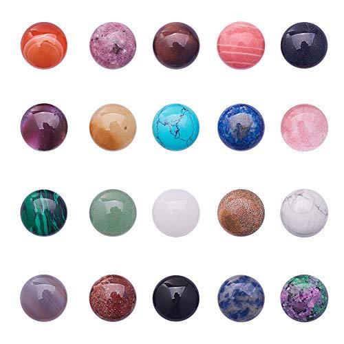 PandaHall Elite 20 cabujones de piedras preciosas redondas de 16 x 6 mm, para hacer joyas, 20 colores mezclados