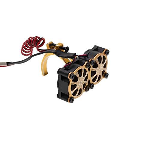 Exanko Ventilador de RefrigeracióN del Disipador de Calor del Motor con Sensor TéRmico para Motores 540550 3650 3660 1/10 RC Coche Axial SCX10 TRX4, Amarillo