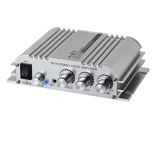 LiNKFOR Mini HiFi Amplificatore 2.1 CH Classe D Amplificatore Stereo Amp 2x40W in Lega di Alluminio Amplificatore di Potenza DC 12V 5A Super Bass Compatibile con CD MP3 MP4 Moto Auto
