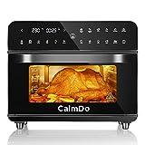 CalmDo Heißluftfritteuse 25L extra groß Fritteuse Air Fryer, Airfryer Backofen mit 12 Programme,1800W Digitalen LED-Display mit 5 Zubehör und Rezeptheft,Friteuse Heissluft,Toaster,Dörrgerät,Schwarz