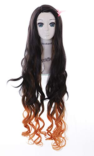 Kawaii-Story KS-1450 Braun Orange lockig 110cm für Nezuko Demon Slayer Cosplay Perücke Wig Anime Manga