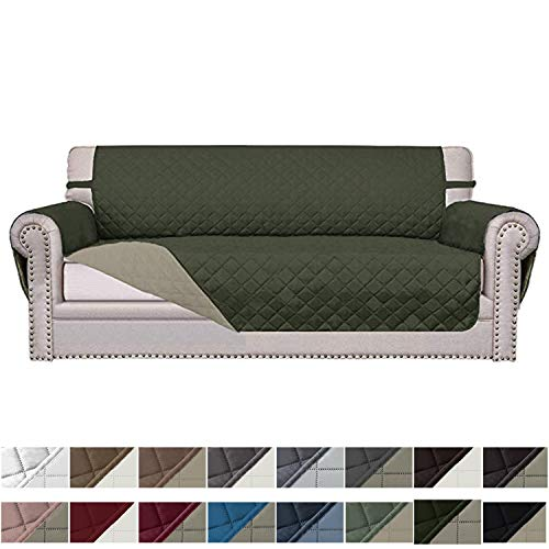 Easy-Going Sofa Slipcover Reversible Sofa Cover Water Resistant Couch Cover Furniture Protector with Elastic Straps for Pets Kids Children Dog Cat(Sofa,Army Green/Beige)