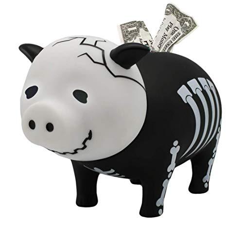 LILALU Spardose BIGGYS Skelett, Sparschwein Kopf drehbar Sparbox Sparbüchse Münzeinwurf Piggy Bank Tresor Kinder