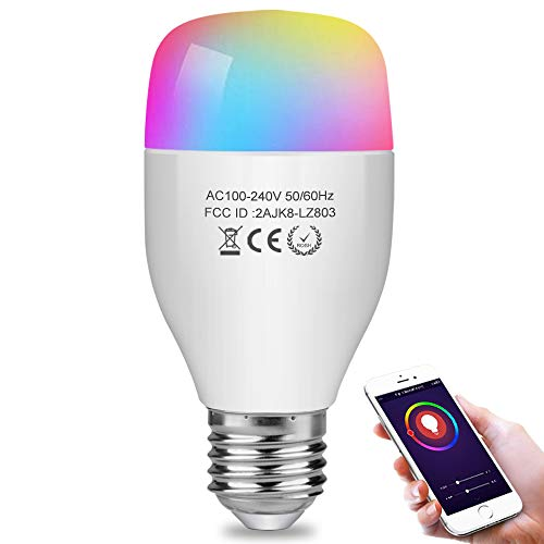 Aigital Smart Light Bulb,WiFi Bulb Color Changing Bulbs Dimmable Music Bulb Compatible with Alexa ( Easy to Connect, Group Control, Remote Control, No Hub Required)
