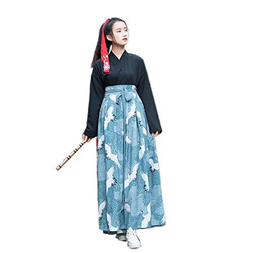 XSY Cultura Kimono De Las Mujeres del Vestido Haori, Muchacha Buena Parte De La Grúa Yukata Vendimia Sakura, Bailar Samurai Traje Estilo Tradicional Haori Samura Larga Túnica,Azul,M