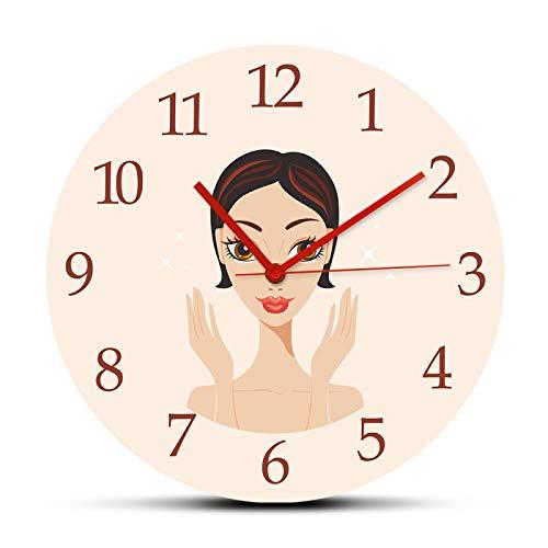 hufeng Reloj de Pared Hermosa Mujer Joven con Piel Impecable Reloj de Pared Redondo acrílico Reloj para salón de Belleza SPA Cuidado de la Piel Decoración Colgante 12 Pulgadas