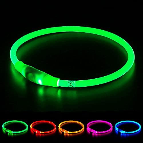 Collar de perro LED Mini USB recargable TPU con luz de seguridad para mascotas resistente al agua, collares básicos para perros pequeños, medianos y grandes (verde)