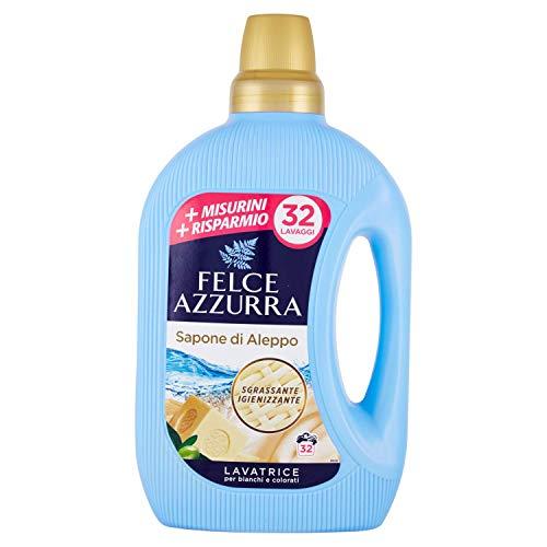 Felce Azzurra - Detersivo Liquido Sapone di Aleppo, Sgrassante Igienizzante, Per Capi Bianchi e Colorati - 32 Lavaggi - 1595 ml