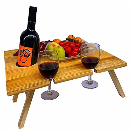 scosao Mesa de Vino Madera, Mesa de Picnic Plegable al Aire Libre, Mesa de Playa Pequeña Portatil con Estante de Vidrio de Vino para Camping Jardín Césped