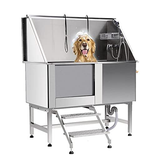 Snugens Bañera de Acero Inoxidable para Perros Capaciad 120KG Bañera para Perros 127cm de Ancho Bañera para Mascotas con Grifo, Rampa de Acceso y Ducha