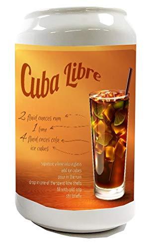 Spardose Sparbüchse Geld-Dose Wiederverschließbar Farbe Weiß Bar Party Cuba Libre Rezept Keramik Bedruckt