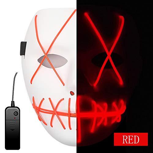 The Purge Maske Halloween Maske Clown Maske mit EL Wire Light 4 Modi Veränderbar Strapazierfähiges ABS Material für Halloween Karneval Maskenball Unfug