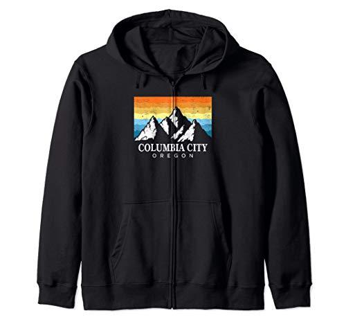Vintage Columbia City, Oregon Mountain Hiking Souvenir Print Zip Hoodie