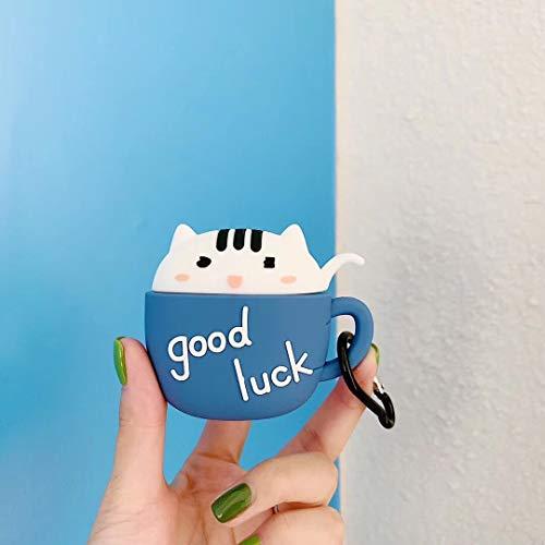 SevenPanda Tasse Hülle für Apple Airpods 1 & 2, Cute Cat Cartoon 3D Airpod Hülle, Weiche Kawaii Skin Kits mit Karabiner, Einzigartige Hülle für Mädchen, Kinder, Frauen, Air Pods - Blau Katzenbecher