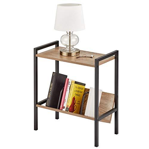 mDesign Tavolino design con mensola – Pratico mobile a ripiani in metallo e legno – Tavolino salotto moderno con 2 piani ideale per libri e riviste – nero/grigio