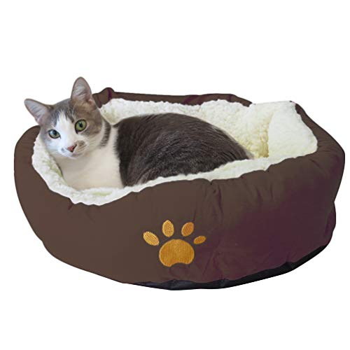 Evelots Soft Pet Bed,For Cats & Dogs, 17'D x 5'H, Brown