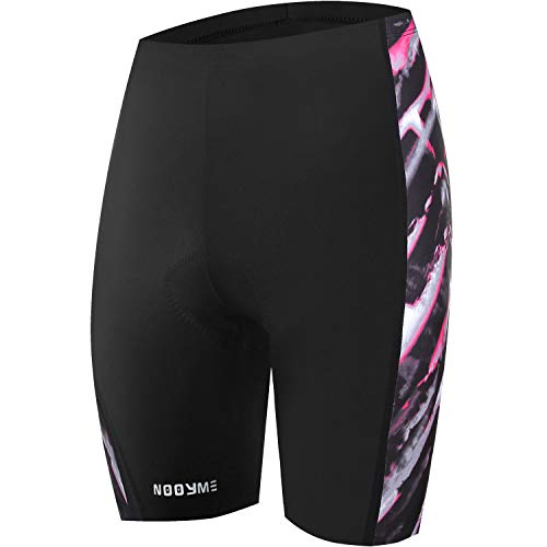 NOOYME Womens Bike Shorts for Cycling with 3D Padded Pink Ride Women Cycling Shorts (Mock Sun, Small)