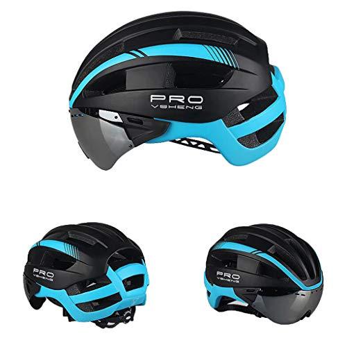 Fahrradhelm Herren/Damen Radhelm Mountainbike Helm Cityhelm Fahrrad mit Abnehmbarer Schutzbrille Gee (Blau)