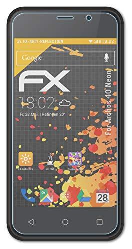 atFolix Panzerfolie kompatibel mit Archos 40 Neon Schutzfolie, entspiegelnde & stoßdämpfende FX Folie (3X)