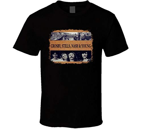 Crosby Stills Nash And Young 70s Classic Rock Worn Look Music Men T Shirt