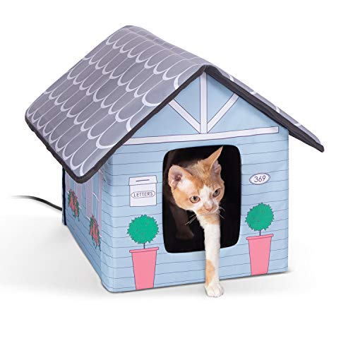 K&H Pet Products Outdoor Heated Kitty House Cat Shelter Cottage Design 18 X 22 X 17 Inches