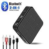 Adaptador Bluetooth,2 en 1 Transmisor Receptor Bluetooth 5.0 Inalámbrico con RCA & 3.5mm AUX para TV, Audio, Música Inalámbrico en Coche