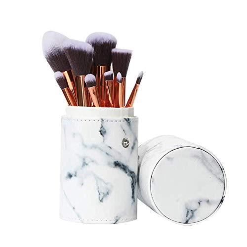Black Deals Friday Cyber Deals Monday Deals Sales-10pcs Makeup Brush Set Professional Face Marble Cosmetic Brushes Kit Make up Tool with Cup Holder Case Christmas Gifts for Teen Girls (White)