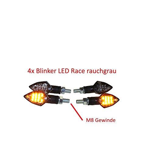 4X LED mini knipperlicht race rook grijs getint (smoke grijs) met E-nummer voor motorfiets, quad, scooter