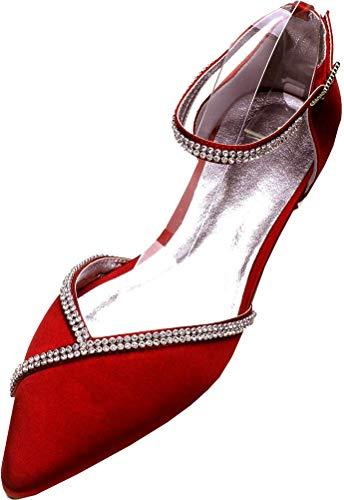 Zapatos planos de ballet para mujer, punta puntiaguda, vestido de boda, fiesta,...