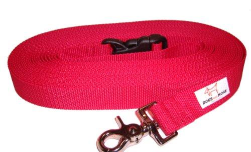 DOGS and MORE - VERLÄNGERBARE Schleppleine mit LÖSBARER Handschlaufe - Basis 15 Meter (Rot; 25 mm breit) / Suchleine/Feldleine