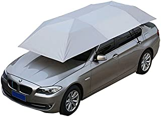 Reliancer Car Tent Semi-automatic Hot Summer Car Umbrella Cover Portable Movable Carport Folded Automobile Protection Sun Shade Anti-UV Canopy Sunproof Shelters SUV(Manual Silver)
