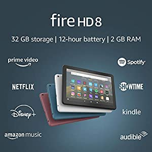 Fire HD 8 tablet, 8″ HD display, 32 GB, designed for portable entertainment, Black