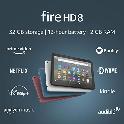 Fire HD 8 tablet, 8' HD display, 32 GB, designed for portable entertainment, Twilight Blue