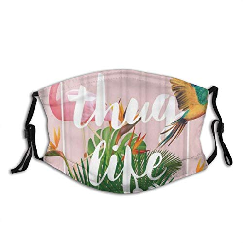 Jopath Pink Flamingo und Papagei Thug Life Tropische Palmblätter und Blumen Grüne Illustration Kunst Staub Gesicht Abdeckung Waschbar Wiederverwendbar, Staubdicht, Radfahren
