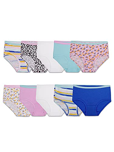 Fruit of the Loom Girls' Big Cotton Brief Underwear, 10 Pack-Fashion Assorted, 14