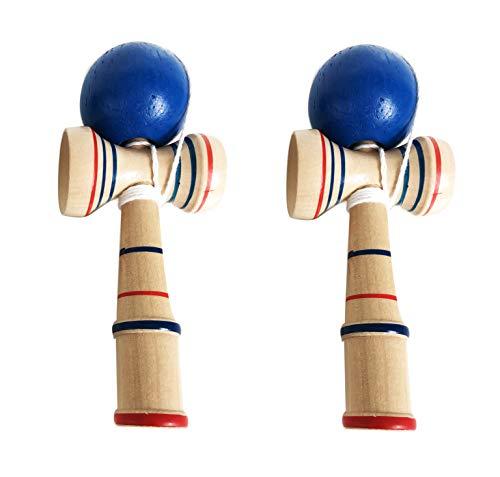 Rayline Sport Serie - 2er Set Kendama aus Holz - Japanisches Geschicklichkeitsspiel für Hand Augen Koordination für Kinder u. Erwachsene / Länge: 16,5 cm - Durchmesser Ball: 5 cm
