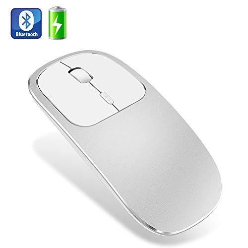 Muis, metaal geruisloos Stil Draadloos Oplaadbaar Bluetooth Draadloos Optisch, Compatibel met Notebook PC Laptop,Silver