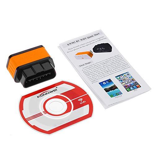 Godyluck- WiFi ODBII Adaptador de Lector de código Herramienta de escaneo de diagnóstico para Android PC Auto Code Scanner (Negro Rojo) KW903