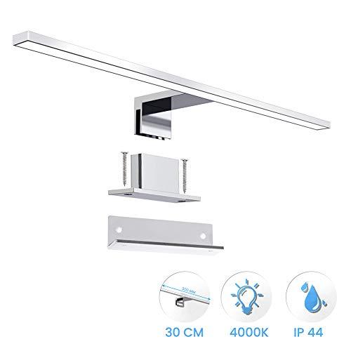 ERWEY 2 in 1 LED Spiegelleuchte IP44 Badleuchte Badlampe neutralweiß Schminklicht Badezimmer 230V Schrankleuchte Spiegelschrank Aufbauleuchte Bad Klemmleuchte Wandleuchte (30cm 4000K 5W)