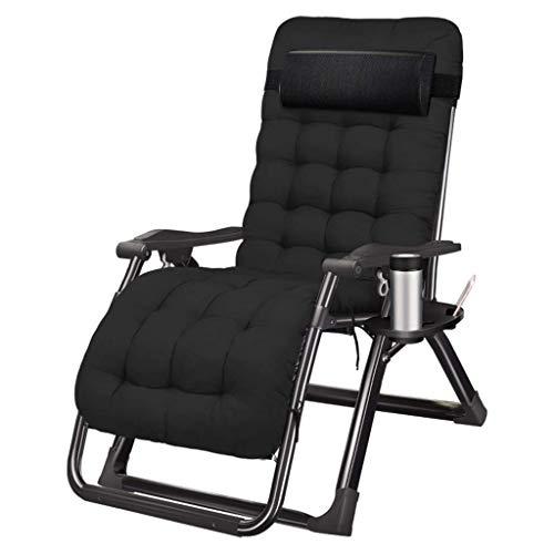 Zonnestoel Tuinstoelen Met Kop En Telefoon Houder |Dek olding Recliner Zero Gravity Outdoor Chair (Kleur: Zwart, Maat: A) zhihao (Color : Black, Size : B)