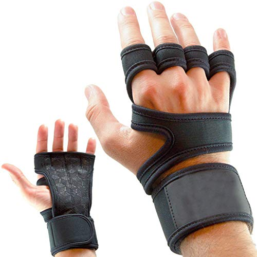 serveuttam Leosportz Workout Gloves with Wrist Support for Gym Workouts, Pull-Ups, Cross Training, Weightlifting, Calisthenics, WOD, Exercise Silicone Padding Great Hand Grip and No Calluses, Black